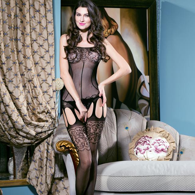 妖娆透明网眼蕾丝紧身情趣内衣连体丝袜