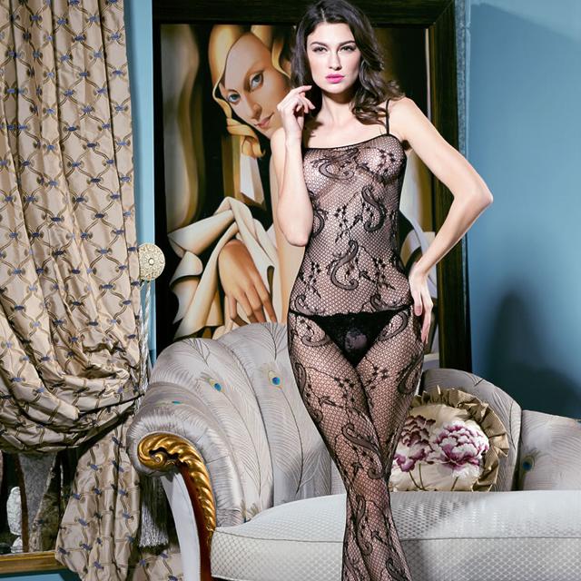 性感蕾丝提花网眼情趣内衣镂空连体丝袜露乳