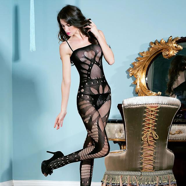 心型诱惑 吊带情趣内衣女睡衣连体丝袜透视网衣