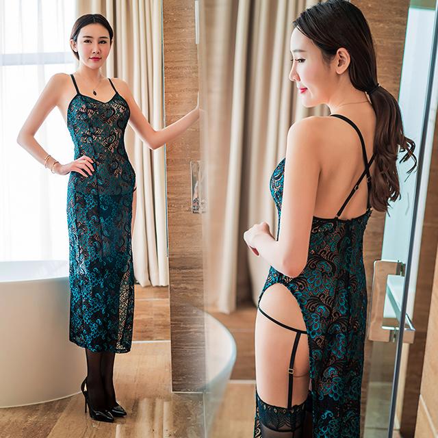 复古旗袍装含丝袜孔雀羽纹性感长裙