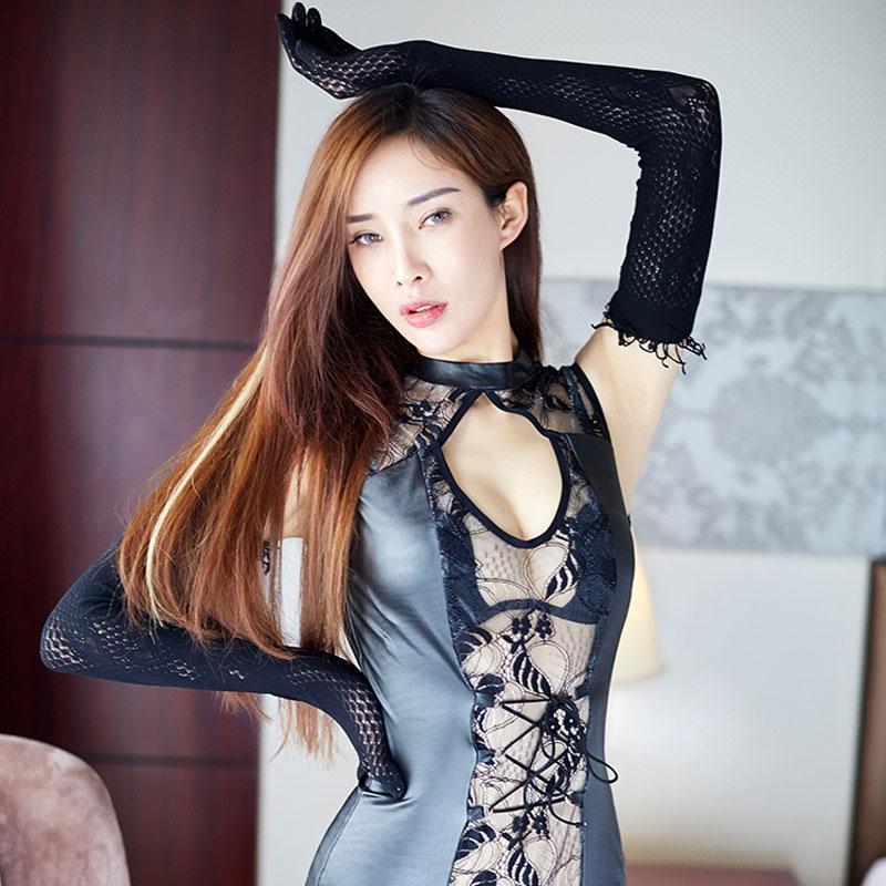 制服诱惑新款蕾丝镂空连体服情趣内衣