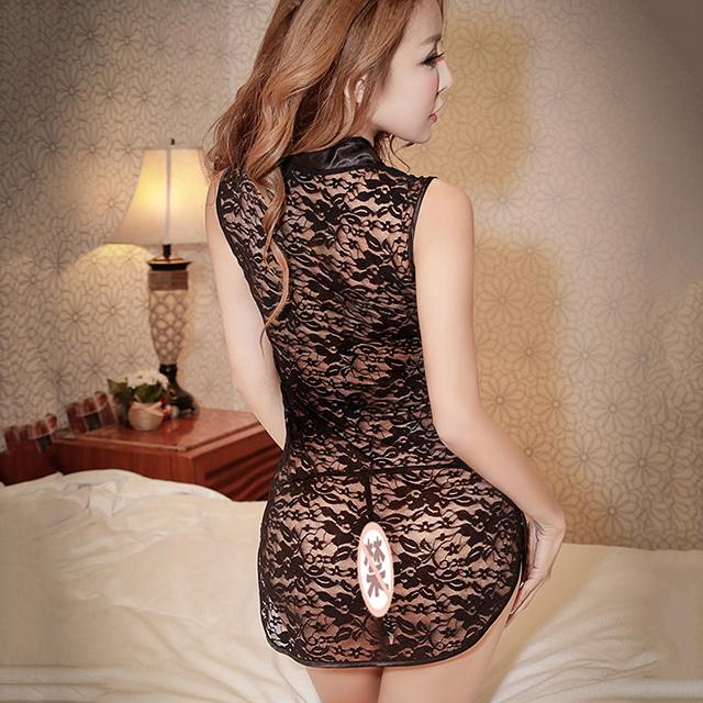 霏慕 时尚情趣内衣透明蕾丝旗袍套装夏季女士制服诱惑性感睡裙