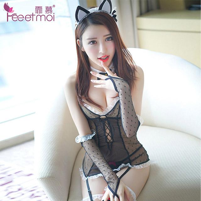 女骚成人性感俏皮可爱猫女套装透视诱惑网纱制服情趣内衣