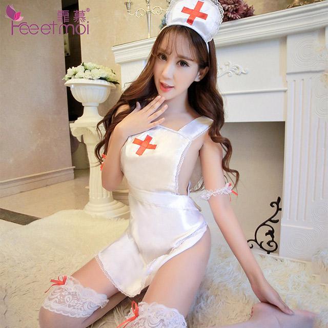 霏慕 性感护士女套装白色缎面诱惑大码制服角色扮演女