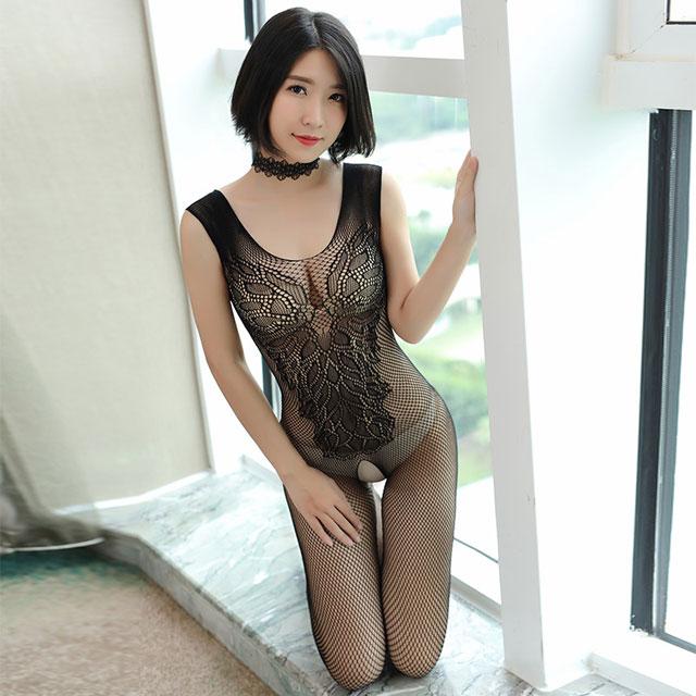 霏慕 透视诱惑网眼提花无袖开档免脱性感连身袜女装情趣内衣