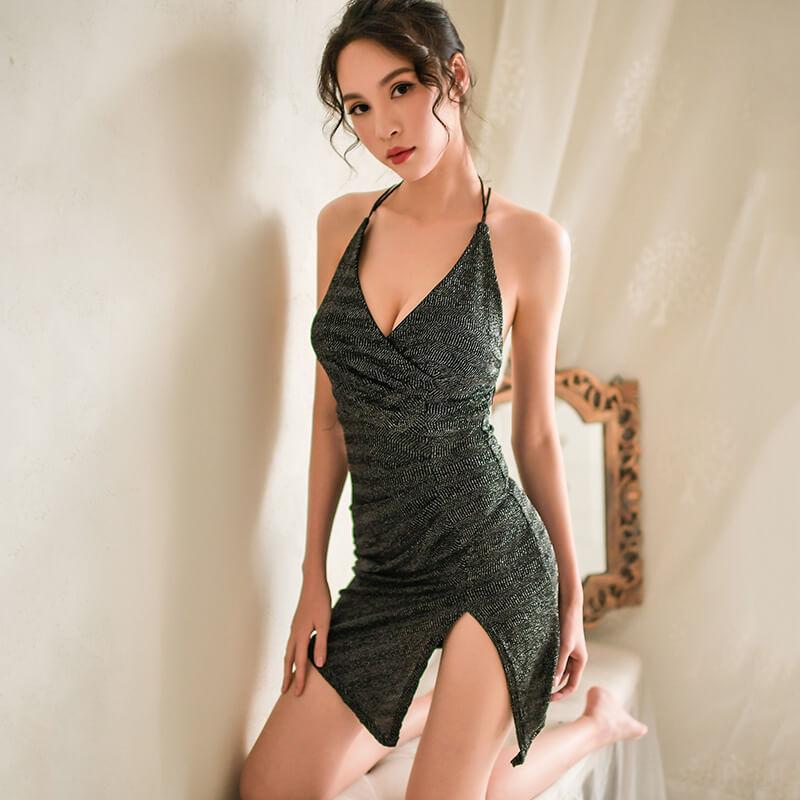 性感情趣内衣服亮丝露背包臀夜店女骚装激情诱惑制服套装