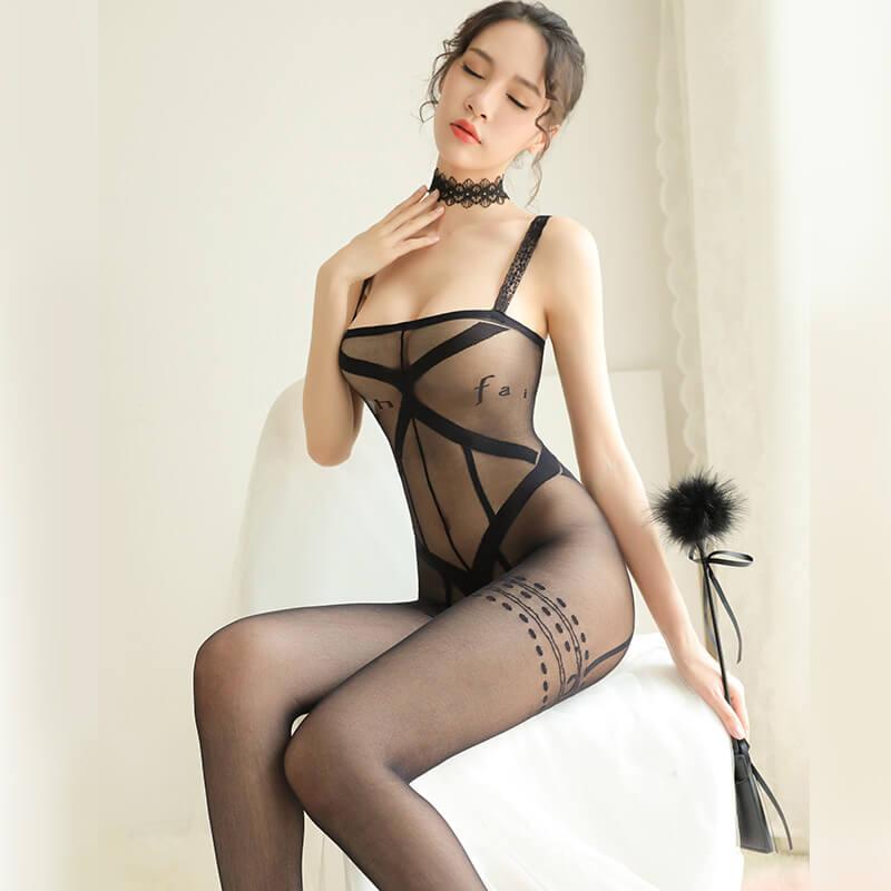 女式性感捆绑英文透视装单件连身袜开裆丝袜激情套装情趣内衣