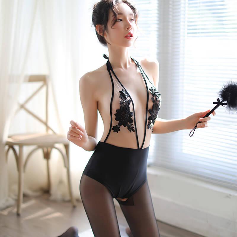 刺绣透视可开档连体衣激情套装用品挑逗透视装情趣内衣