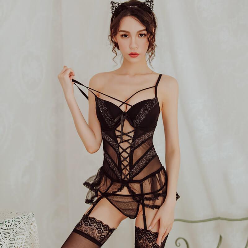 钢圈棉垫低胸性感束身马甲制服可爱短裙激情套装情趣内衣