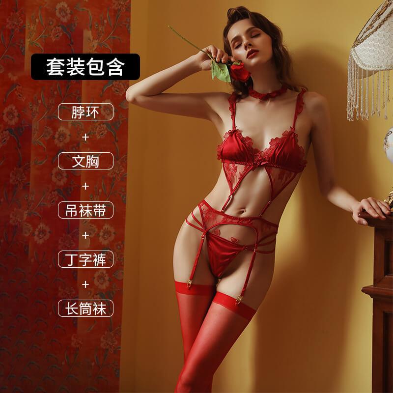 Selebritee新品性感蕾丝三点式缕空刺绣连体衣制服诱惑激情套装